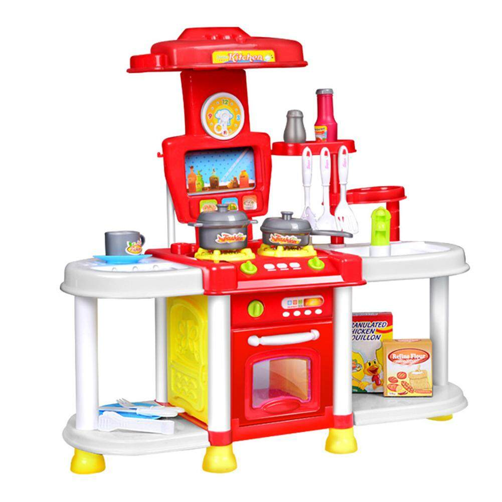 QiMiao Simulate Kids Kitchen Toy Set with Light & Sound Play-House Tableware Toy Gift Ornament