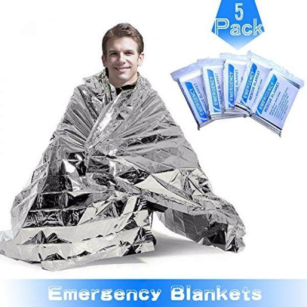 RISEN Emergency Blankets(5-Pack) with Waterproof Silver Mylar and up to 90% Heat Retention Thermal Blankets for First Aid Kit,Outdoors Survival,Camping,Hiking,Sports(51 x 83)