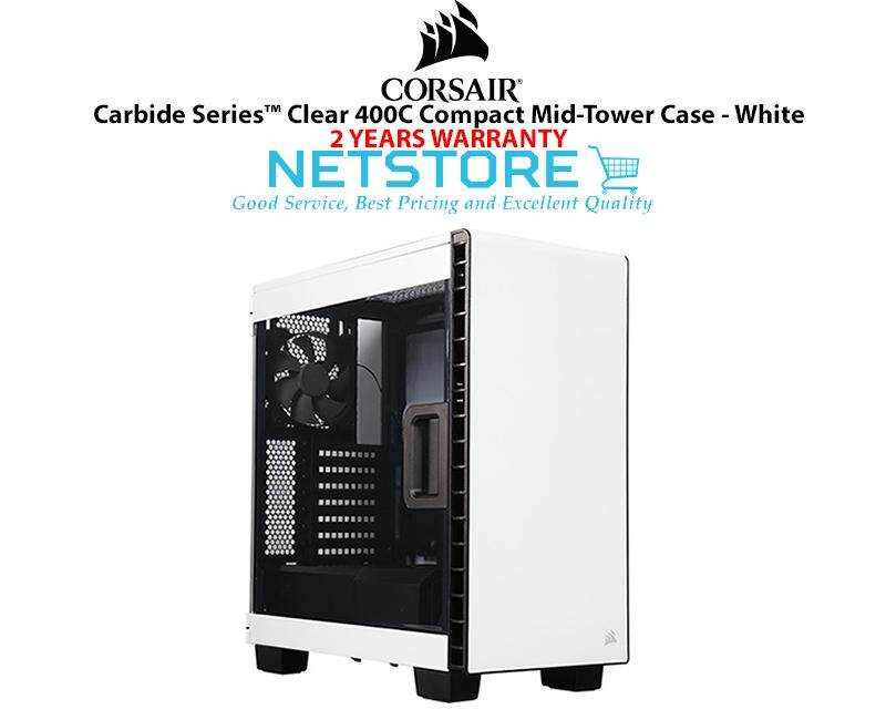Corsair Carbide Series Clear 400C Compact Mid Tower PC Gaming Dekstop Case White CC-9011095-WW Malaysia