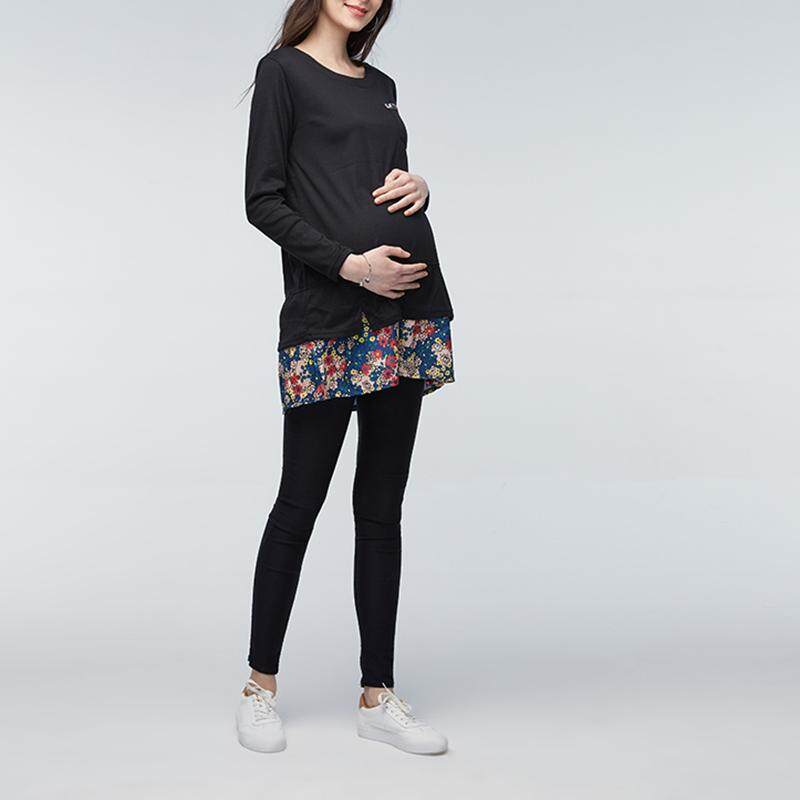 c458084f60a VONDA Maternity Clothings 2018 Summer Patchwork Print Dress Long Sleeve  Casual Loose
