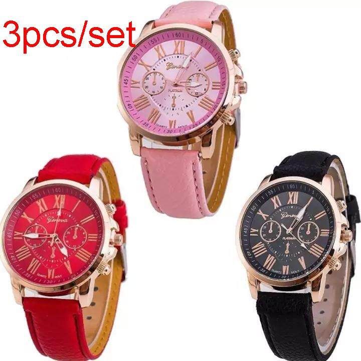 3PCS/SET GENEVA Quartz Watch Women Ladies Famous Brand Luxury Golden Wrist Watch Female Clock Montre Femme Relogio Feminino Malaysia
