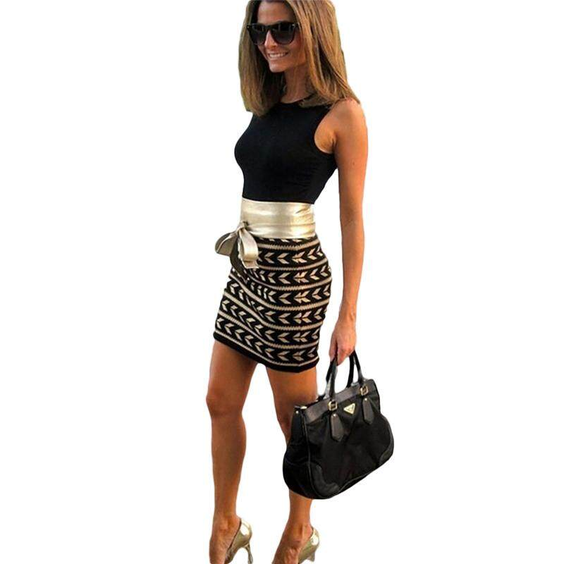 Hot Sale Ladies Fashion Sexy Package Hip Sleeveless Splice Print Tie Belt  Dress 57ee7d72aeb2