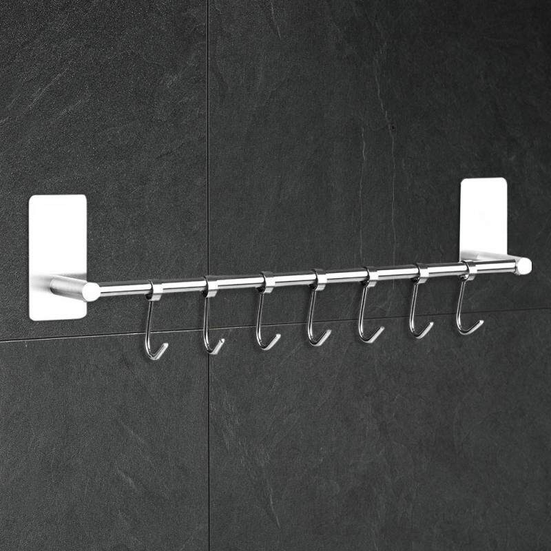 Wall-mounted Sticky Hook Rack 304 Stainless Steel Self-adhesive Hook Hanger Storage Organizer Multi-purpose for Kitchen Bathroom with 7pcs Moveable Hooks