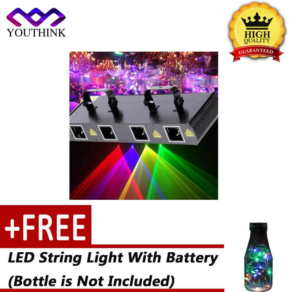 Epayst [buy 1 Get 1 Free Led String Light With Battery(bottle Is Not Included)] 4lens 30w Laser Stage Light 7ch Dmx512 Sound Actived Disco Party Effect Lights Eu Plug 220~240v By Epayst.