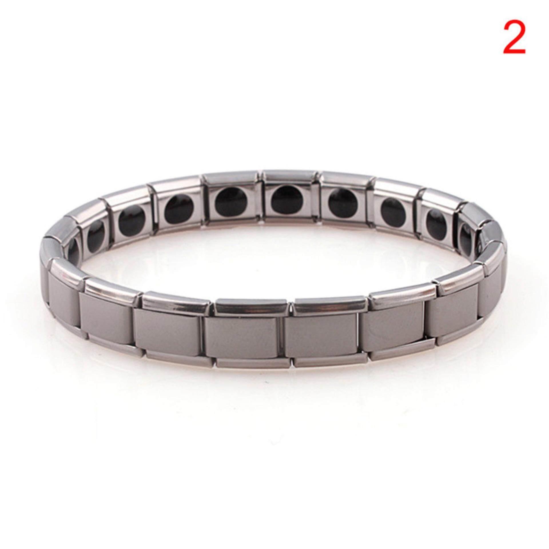 Titanium Steel Elastic Stretch Bracelet For Men Women Energy Health Bangle Silver 19cm