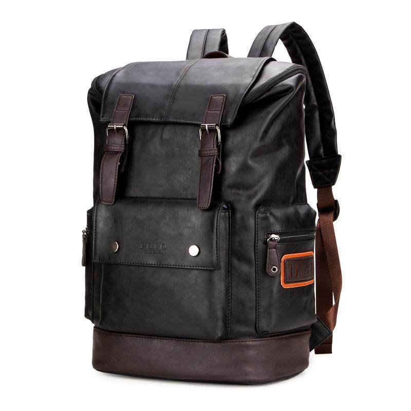032fcddc60 VICUNA POLO Simple Patchwork Large Capacity Mens Leather Travel Casual  Backpack - intl