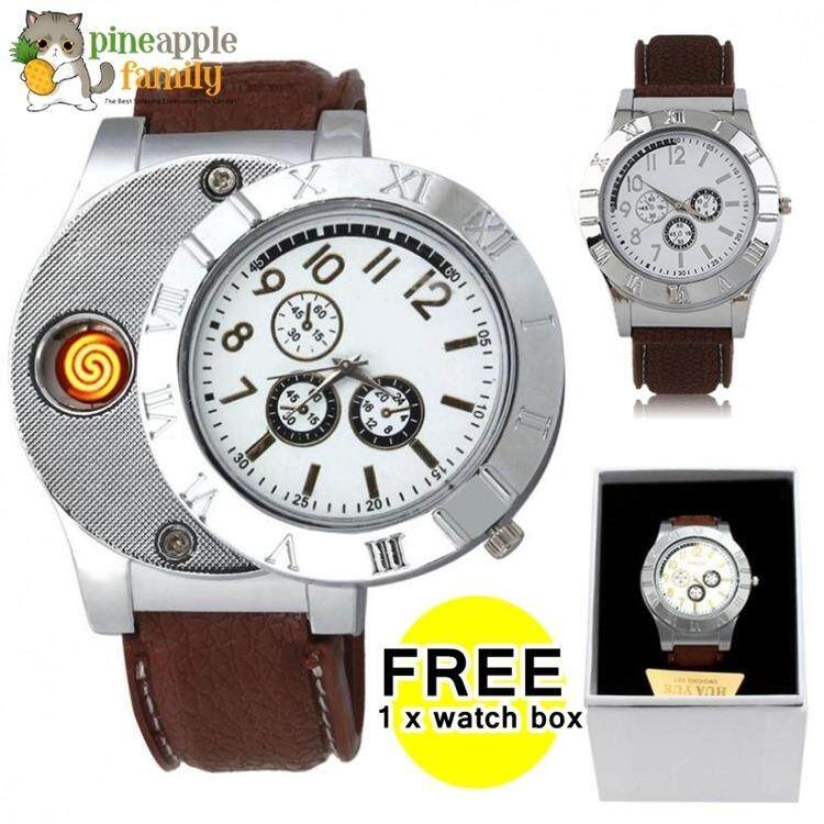 Mens Electronic Lighter Rechargeable Watch Fashion Chronograph Watch With Flameless Lighter By Pineapple Family.