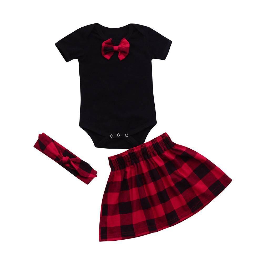55922bea3811 Newborn Infant Baby Girl Plaid Romper Tops+ skirt Princess Dress Headband  Outfits Clothes Set Danvier