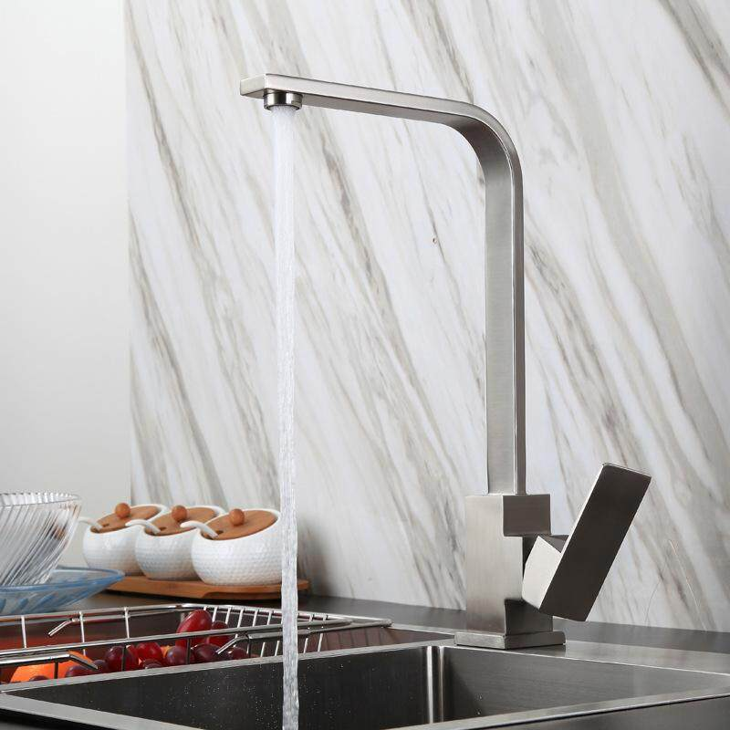 Square 304 Stainless Steel Kitchen Hot and Cold Faucet Sink Brushed Faucet