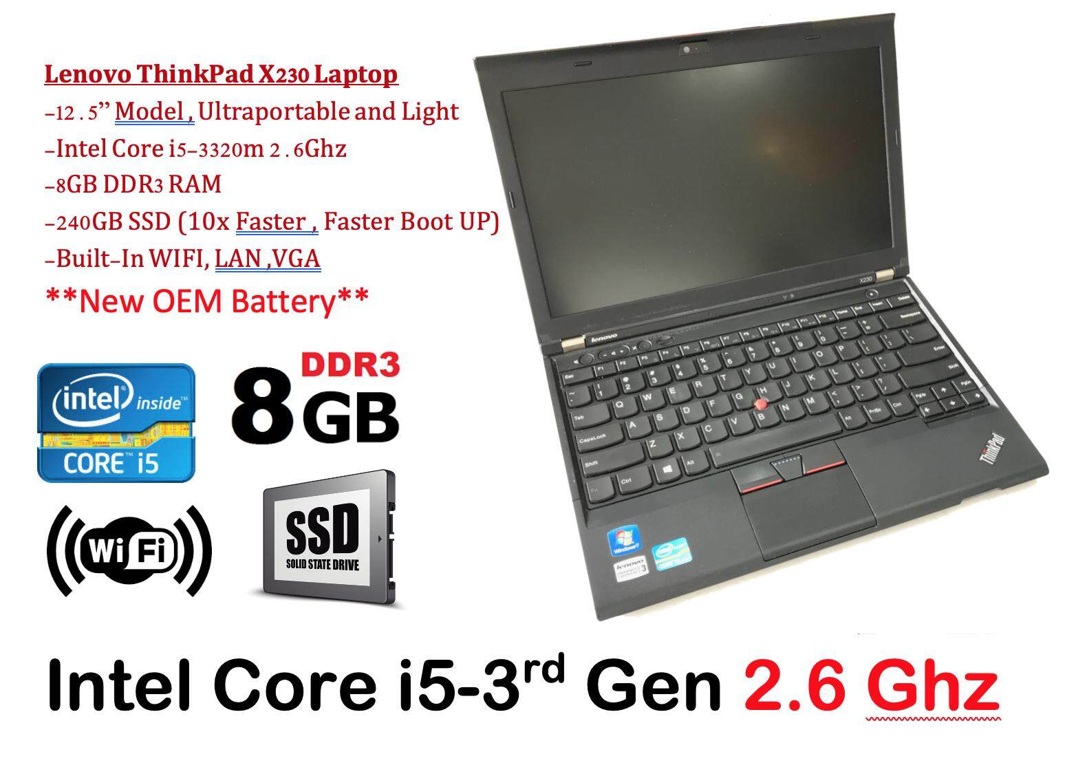 Refurbished Lenovo Thinkpad X230 with New Battery (Core i5 3rd Gen 2.6Ghz / 8GB RAM / 240GB SSD / Win 7 COA / Win 10 Pro / Bag (3 Mth Warranty for Laptop and 1 Mth Warranty for Adaptor and Battery) Used Laptop Notebook Malaysia