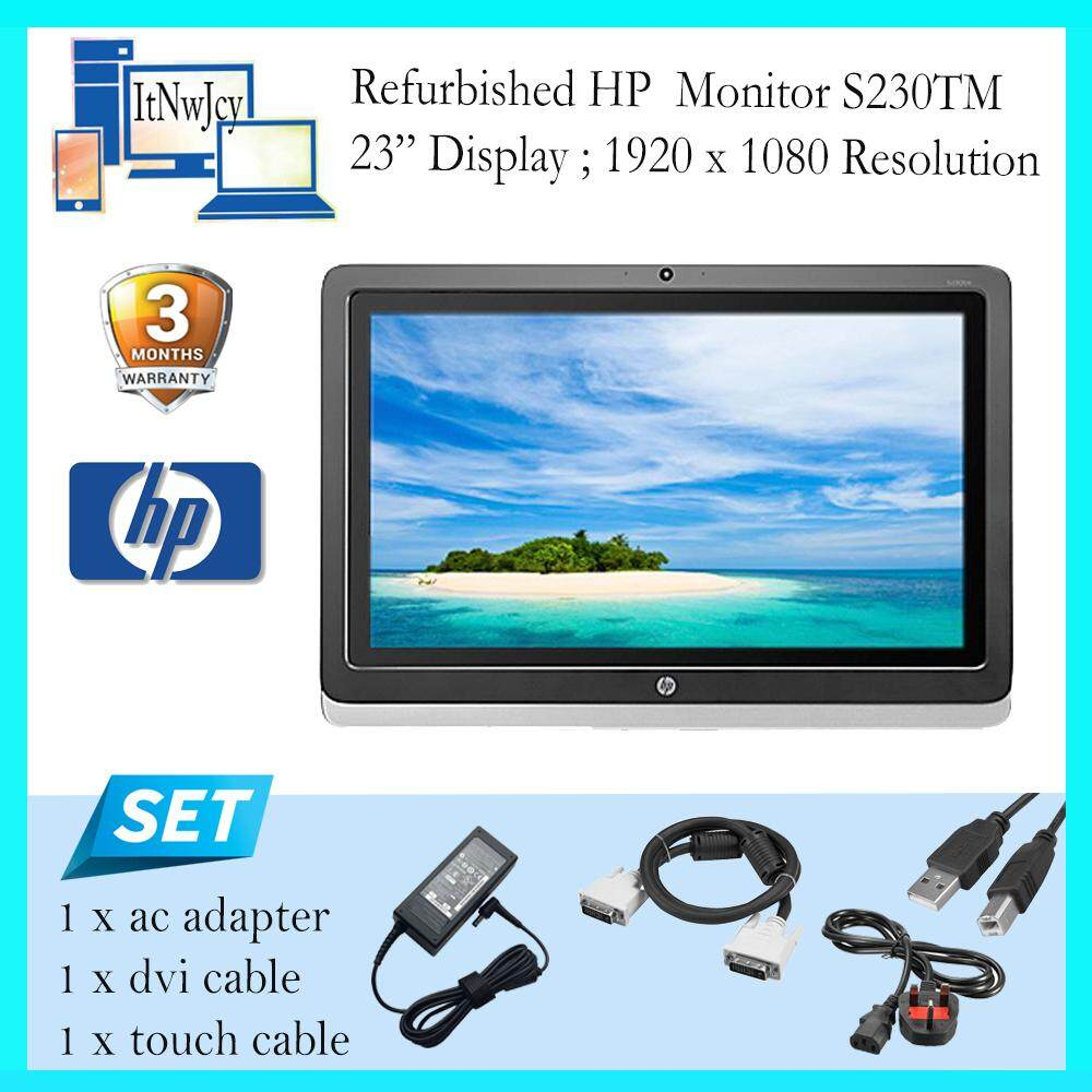 Refurbished HP Monitor S230tm 23/Touchscreen/included ac adap & touch cable Malaysia