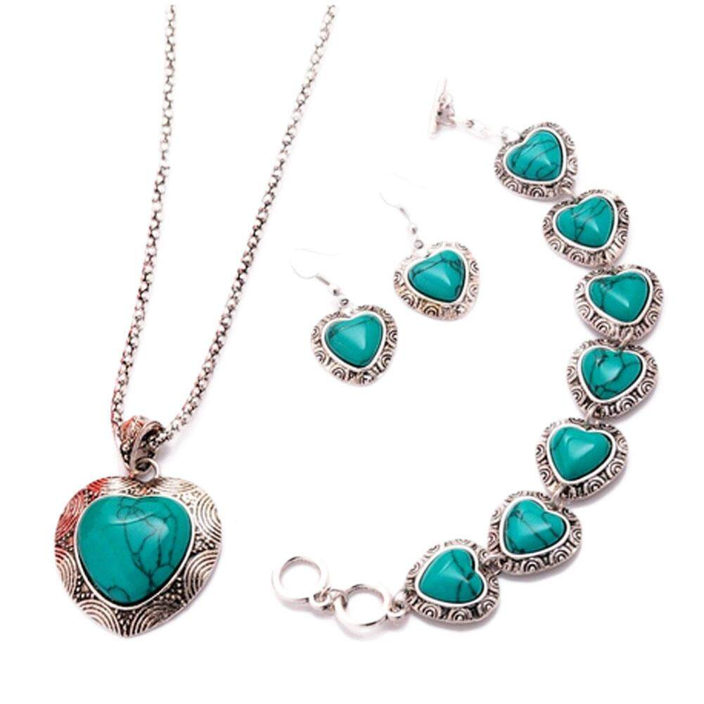 Kuhong Women Elegant Vintage Carved Heart Necklace Bracelet Earrings Turquoise Jewelry Sets By Kuhong.