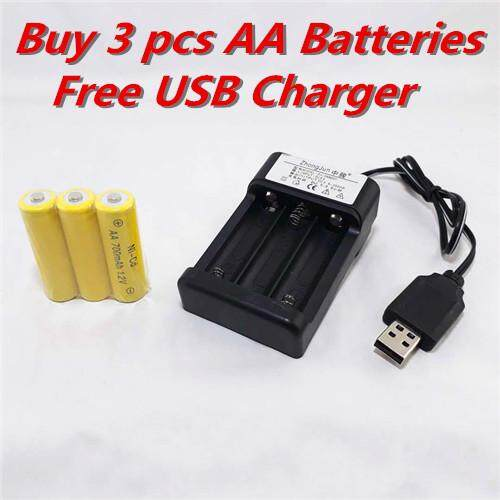 AA 1.2V Rechargeable Battery 700mAh (3 pcs Pack FOC USB Charger) Malaysia