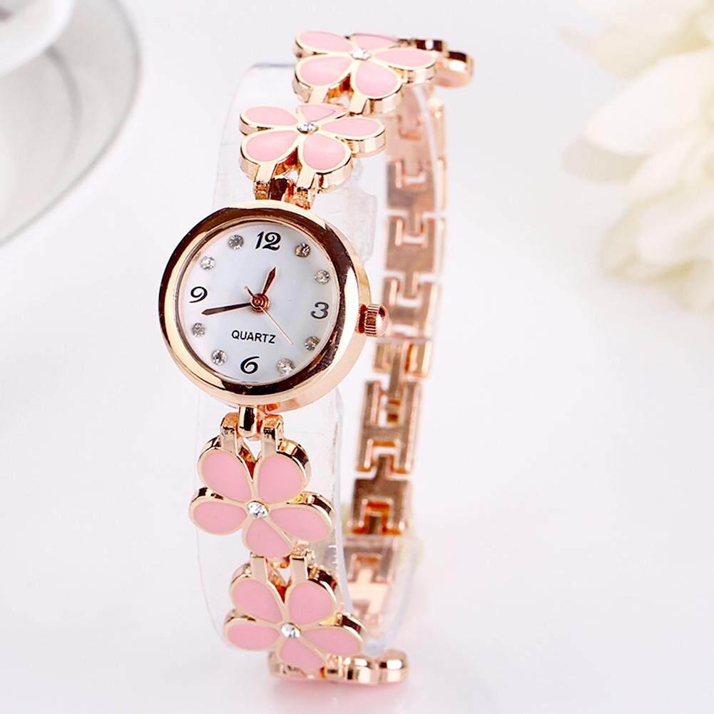 [HOT]Girls Chic Fashion Flower Rose Golden Bracelet Wrist Watch Malaysia