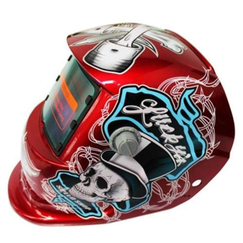 SOLAR ENERGY AUTOMATIC CHANGEABLE LIGHT ELECTRIC WELDING PROTECTIVE HELMET WITH  PIRATE PATTERN (RED)