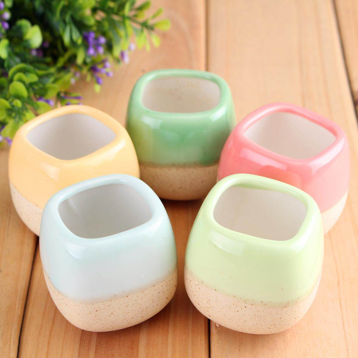 5Pcs Mini Glazed Ceramic Succulent Planter Plant Flower Pot Home Garden Decor