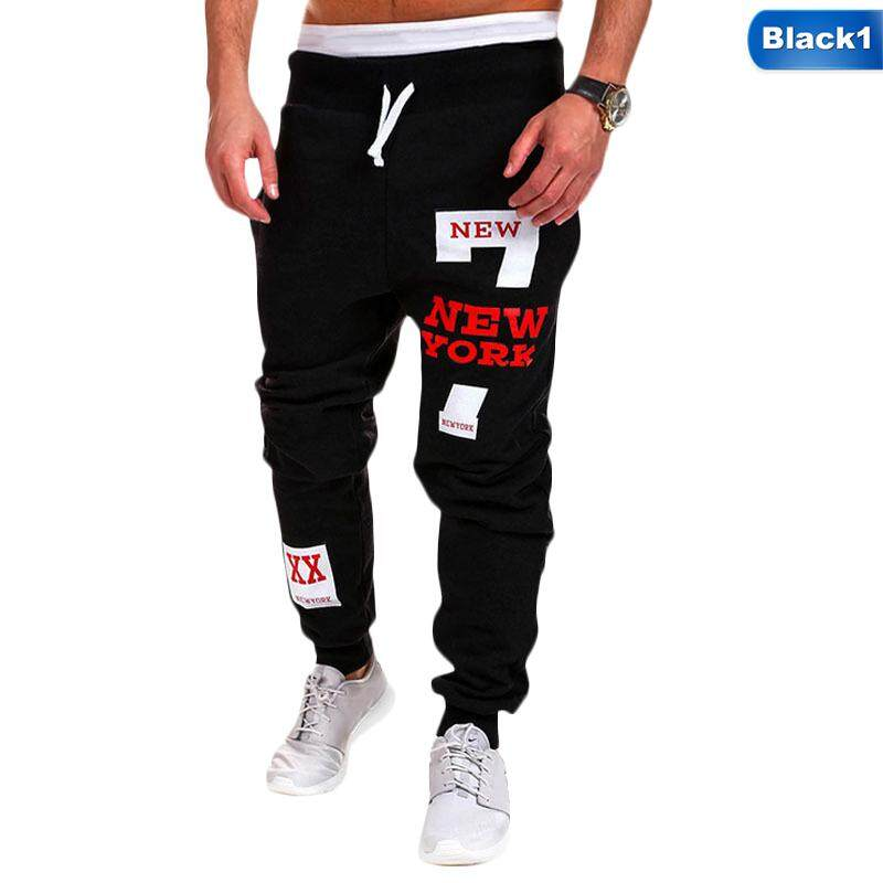 Linfang Men New Casual Letter Print Fashion Sports Pants