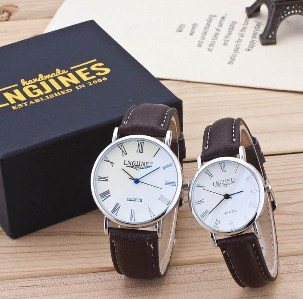 2pcs Fashion Couple High Gloss Glass Leather Belt Watch Set Contains Box Malaysia