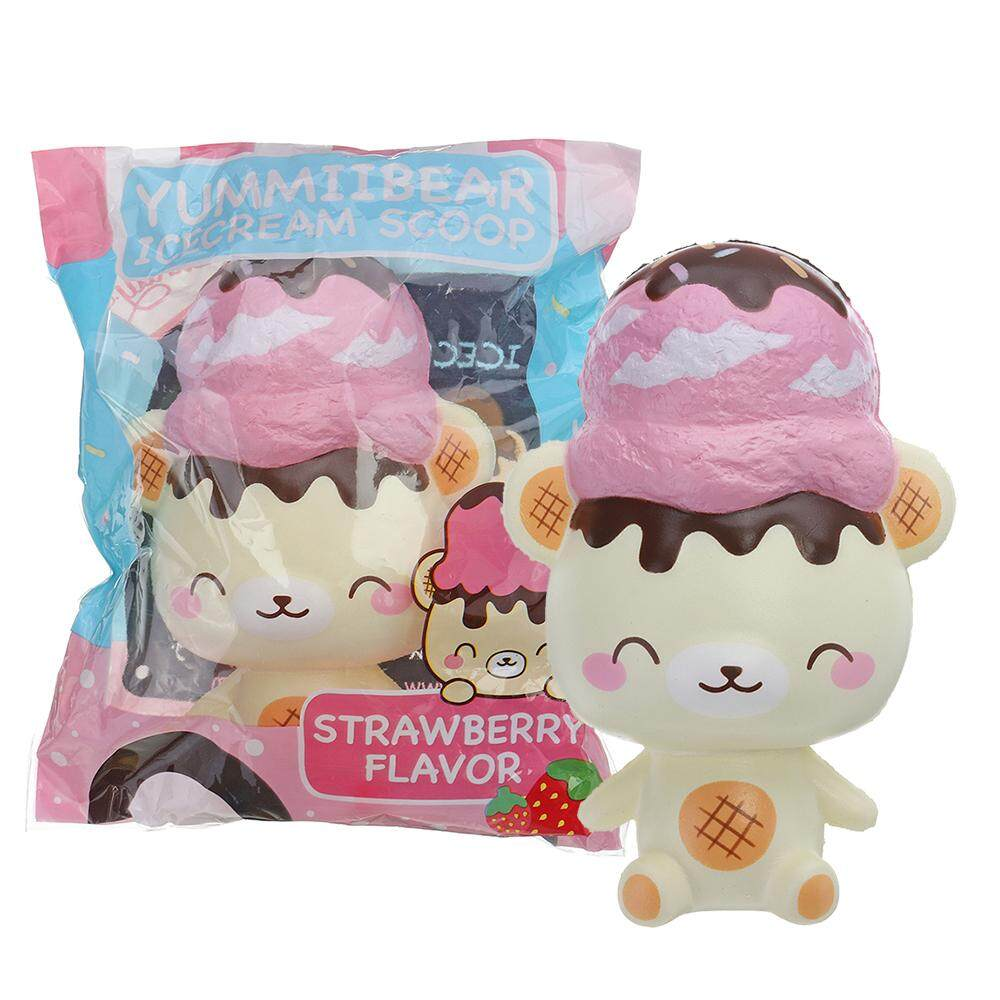 Yummiibear Squishy Ice Cream Scoop Strawberry Bear 14cm Licensed Slow Rising With Packaging By Freebang.