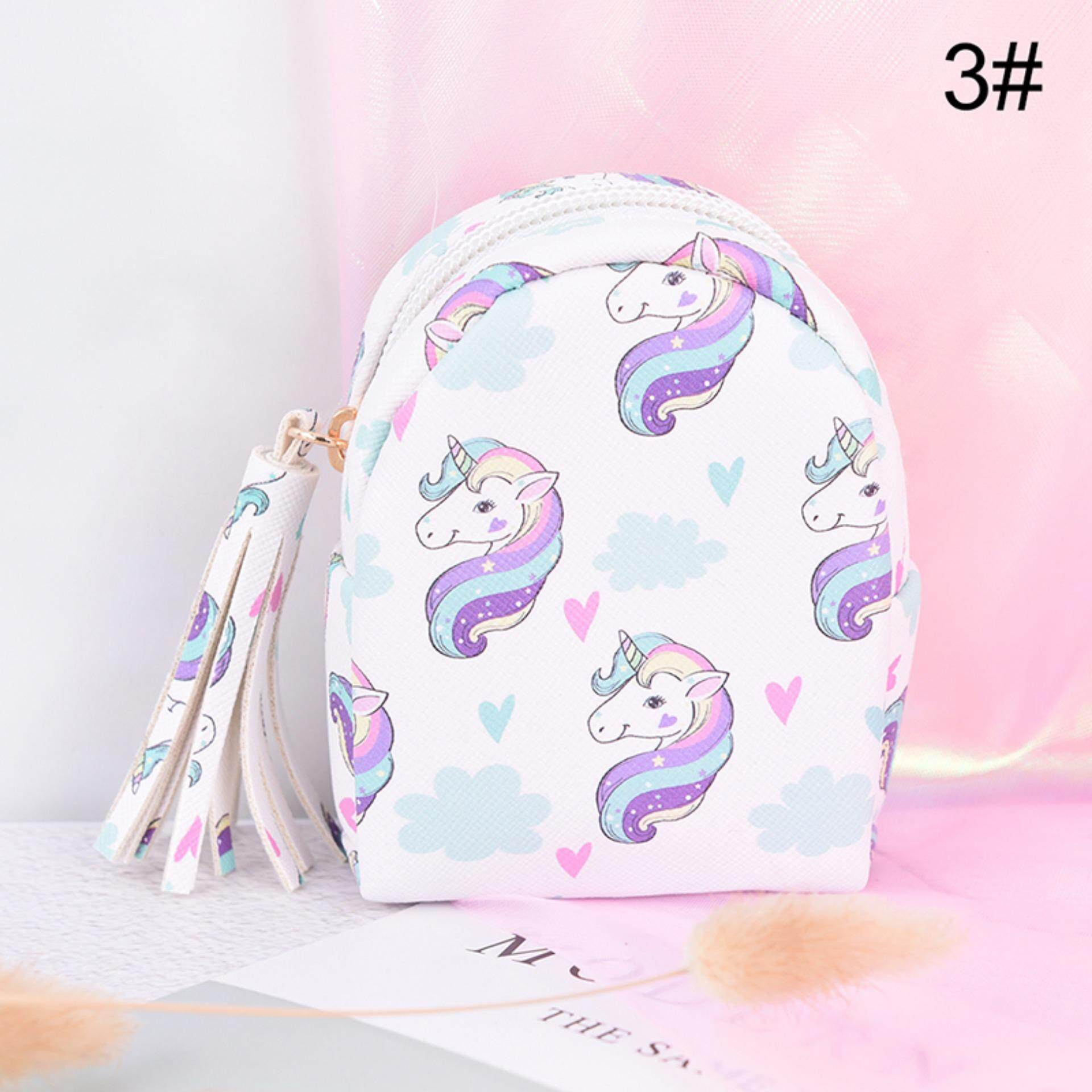 Women Zipper Mini Backpack Unicorn Printed Bag Pu Leather Keychain Coin Purse By The Sunflower Mall.