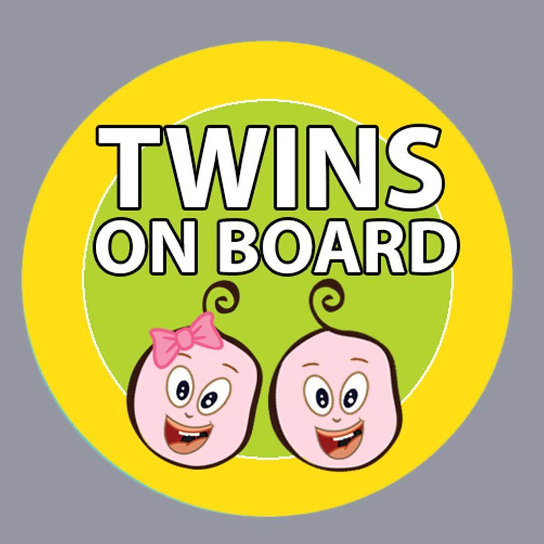 Csm Twins On Board Yellow Car Sticker By Betta Creative.