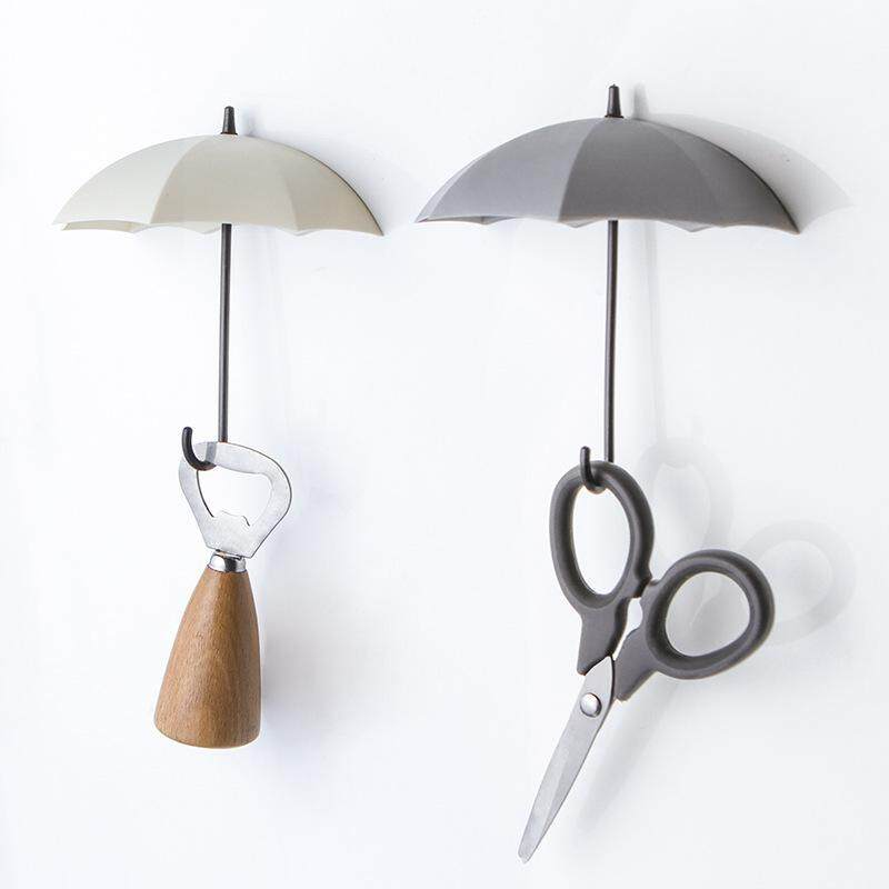 LJAN 3pcs/lot Umbrella Shaped Key Hanger Creative Rack Home Decorative Holder Hooks Hanger New