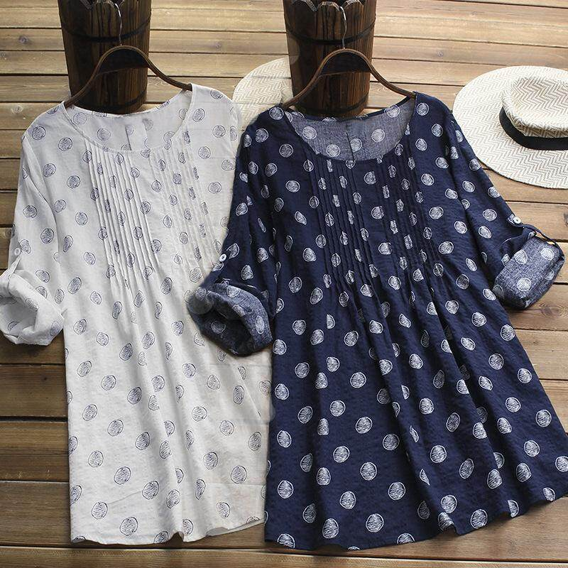 7b1feb6f28 Summer Plus Size Cotton Women Dresses Casual Boho Floral Print Cuffed  Sleeves O-neck Long