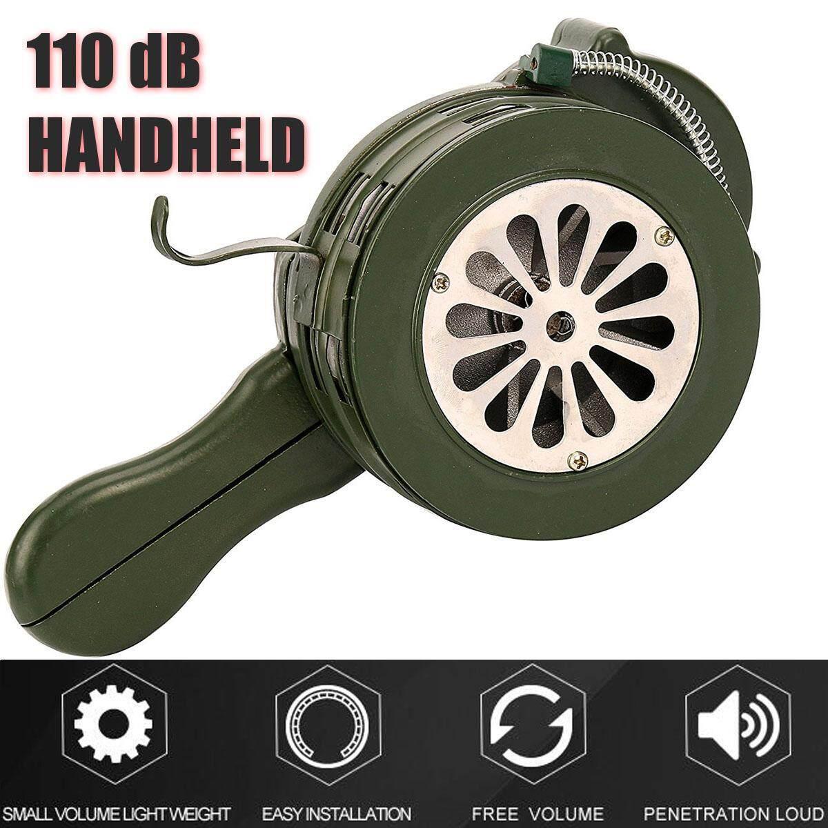 110db Aluminium Portable Hand Loud Crank Manual Air Raid Alarm Handheld Operated