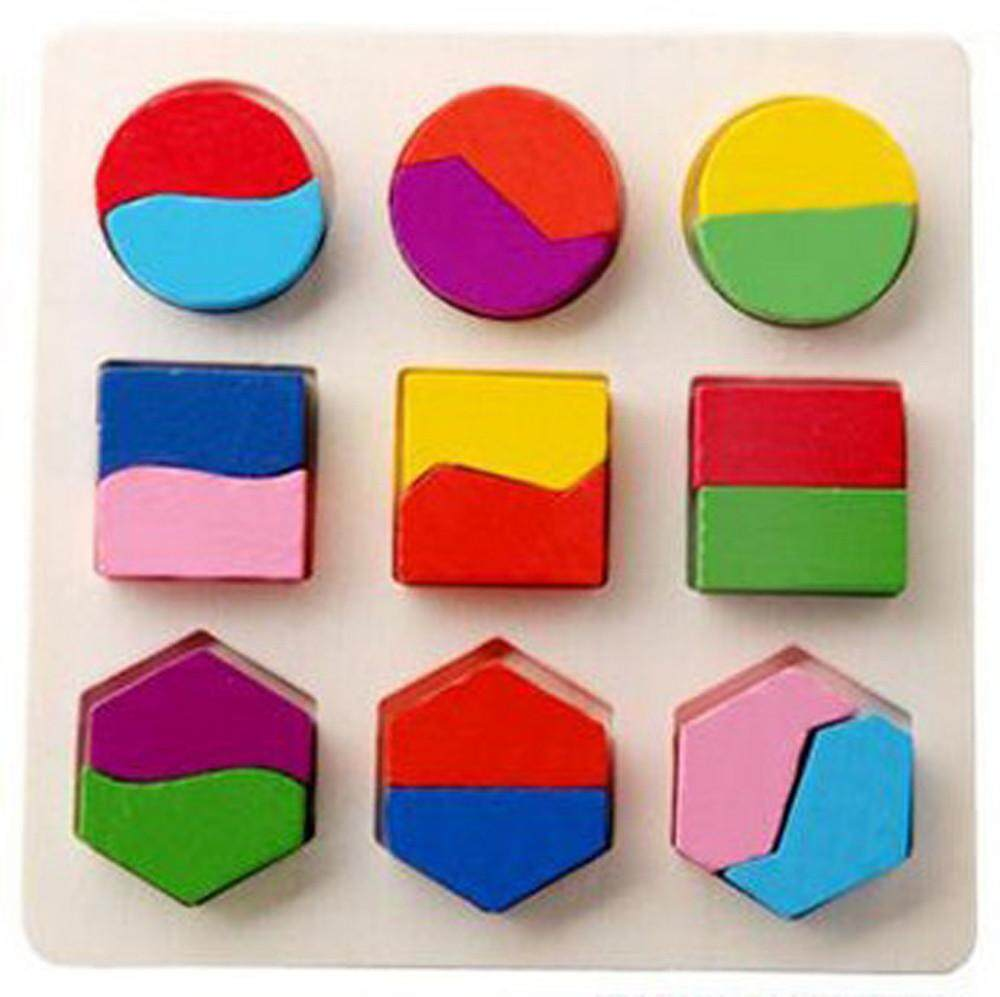 Tertran Kids Baby Wooden Geometry Building Blocks Puzzle Early Learning Educational Toy