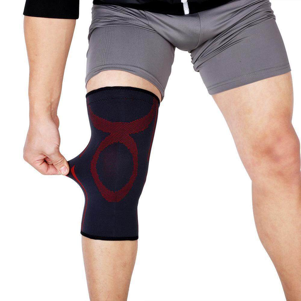 Sports Elastic Support Belt Sleeve Bandage Wrap Volleyball Soccer Knee Pad Black + Red M
