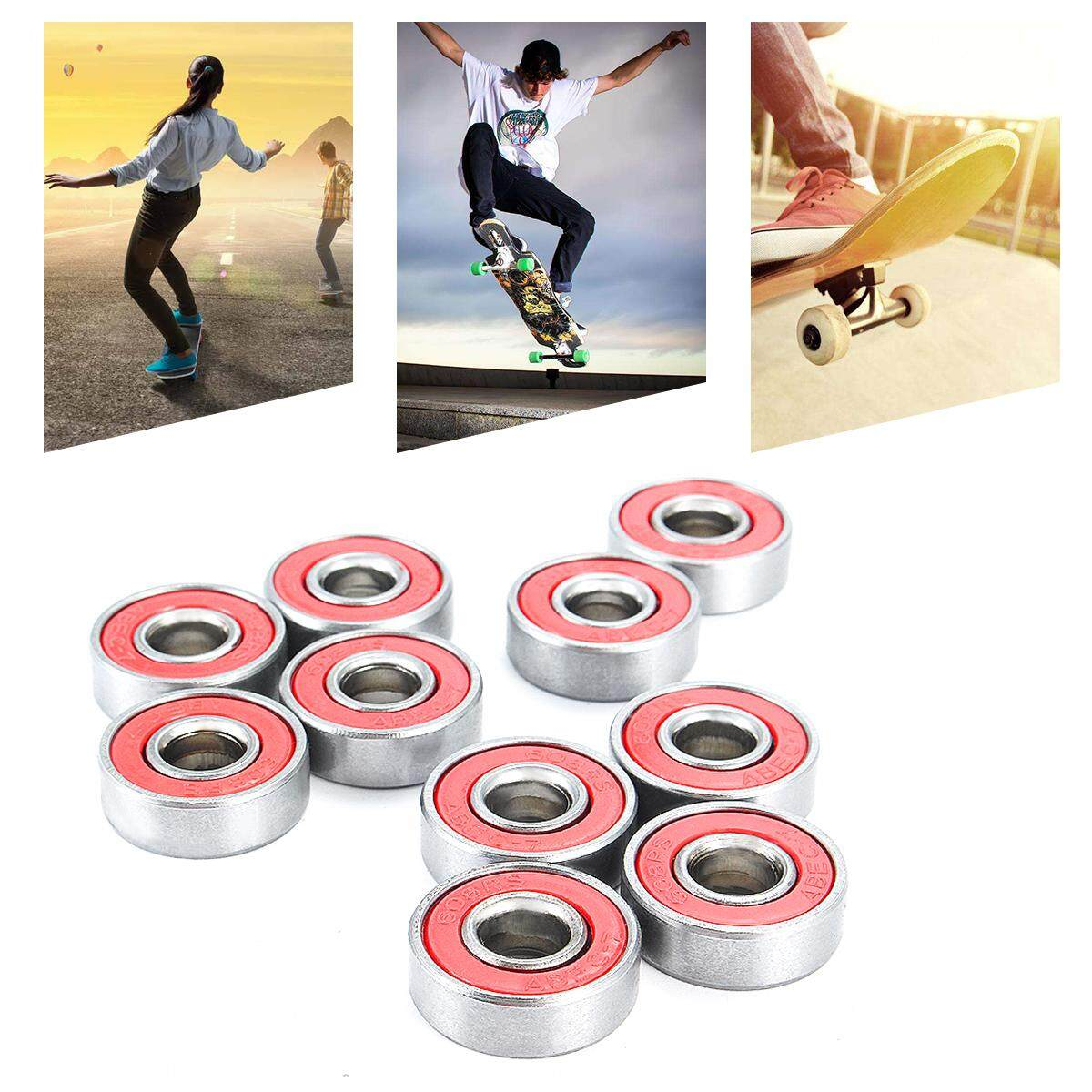 10pcs Abec-7 608rs Skate Scooter Skateboard Wheels Spare Bearings Ball Roller By Teamwin.
