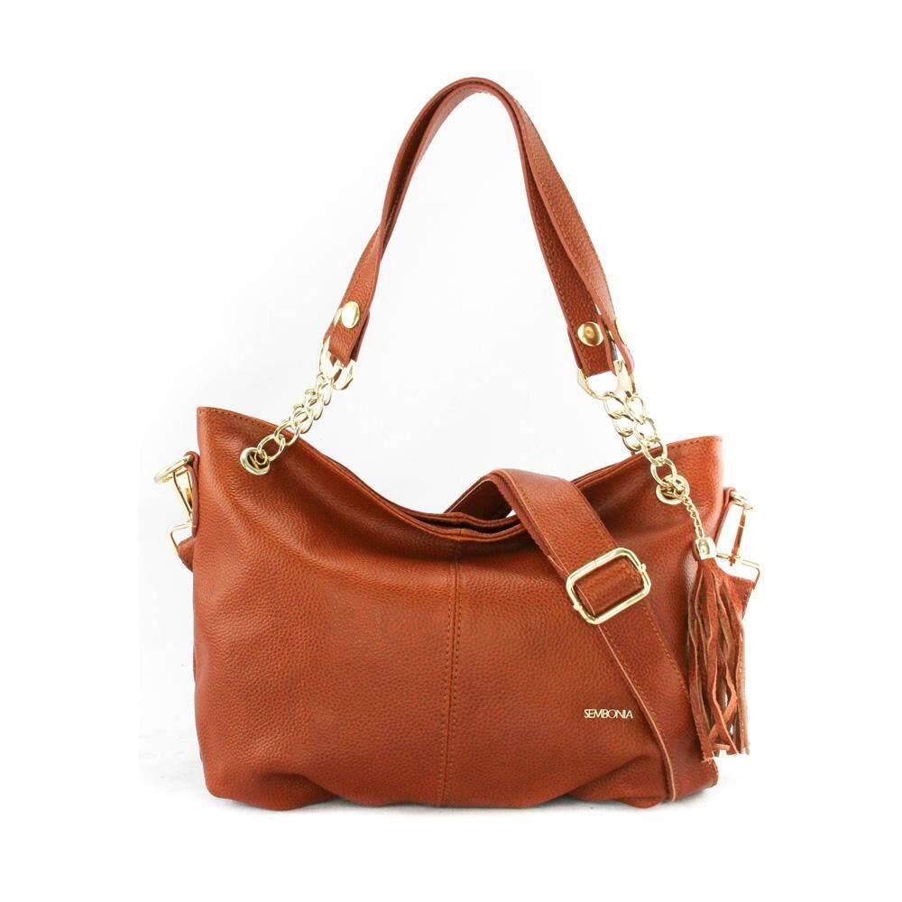 Sembonia Leather Hobo Bag Brown