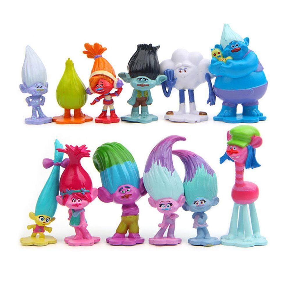 Qimiao 12pcs Trolls Action Figure Poppy Simulation Model Kids Toys Children Gift Solid Doll Ornaments Cake Decoration