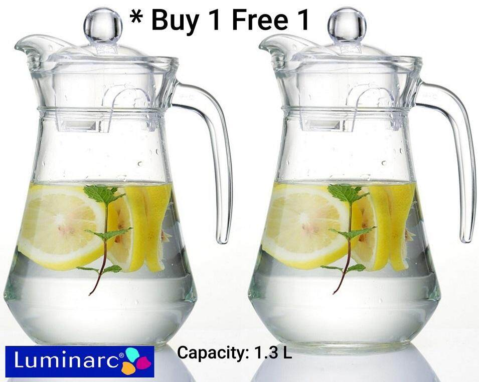 Luminarc Jugs Glass Kettle with Lids 1.3 L (Buy 1 Free 1)