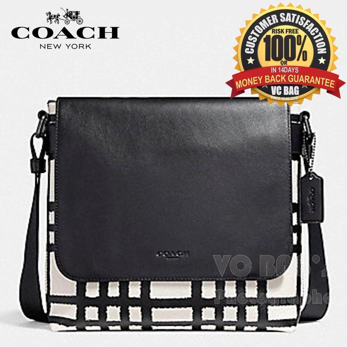 804b756c04f8c COACH F11186 Charles Small Messenger Bag with Wild Plaid Print  Black  Antique Nickel Chalk