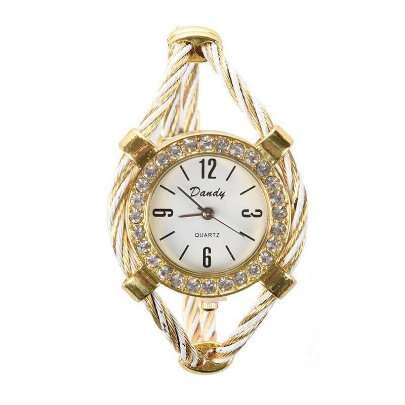 Gold Tone Rope Lady Rhinestone Wrist Watch Bangle Bracelet Cuff Malaysia
