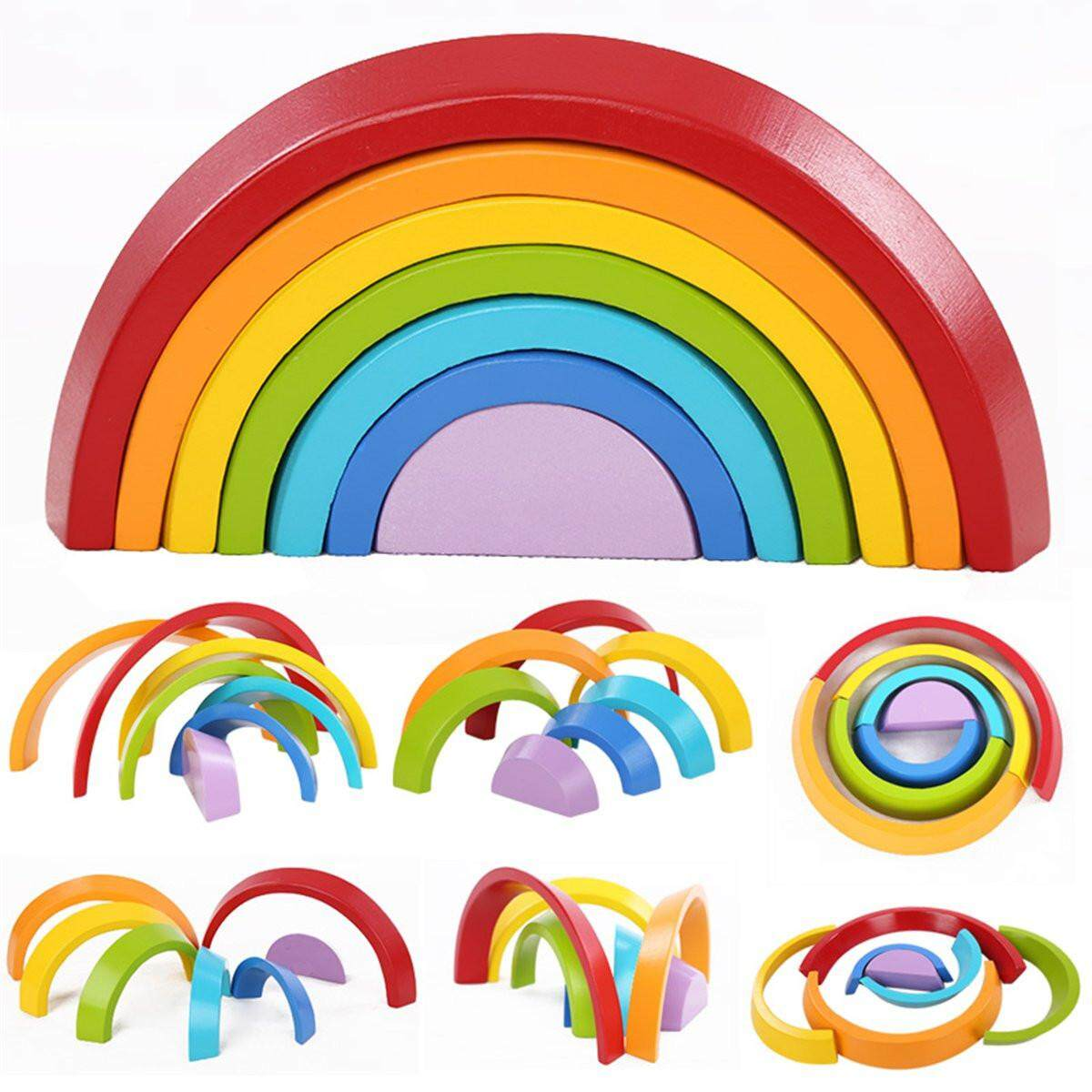 7 Color Wooden Stacking Rainbow Shape Brick Kids Childrens Educational Toy Set By Glimmer.