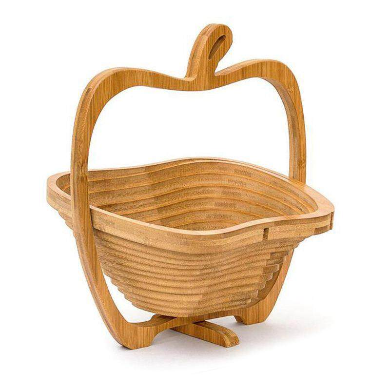 Wooden Collapsible Apples Shape Basket Kitchen Fruits Vegetable Storage Basket Holder Kitchen Storage Tools Decor Centerpiece By Fastour.