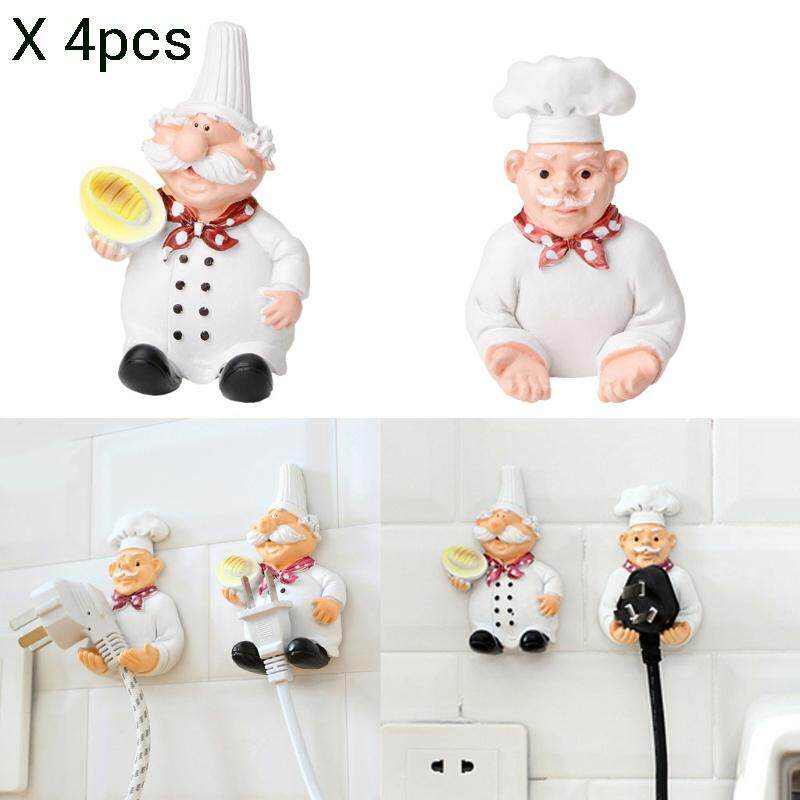 4pcs Mobile Power Plug Hook Cook Fat Chef Wall Decor Organiser For Home, Kitchen, Garden, Garage Organizing By Crazy Mall.