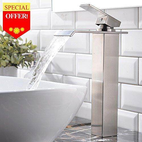 VESLA HOME Vapsint HOME One Hole Single Handle Waterfall Brushed Nickel Bathroom Faucet, Bathroom Sink Vessel faucet Lavatory Mixer Tap
