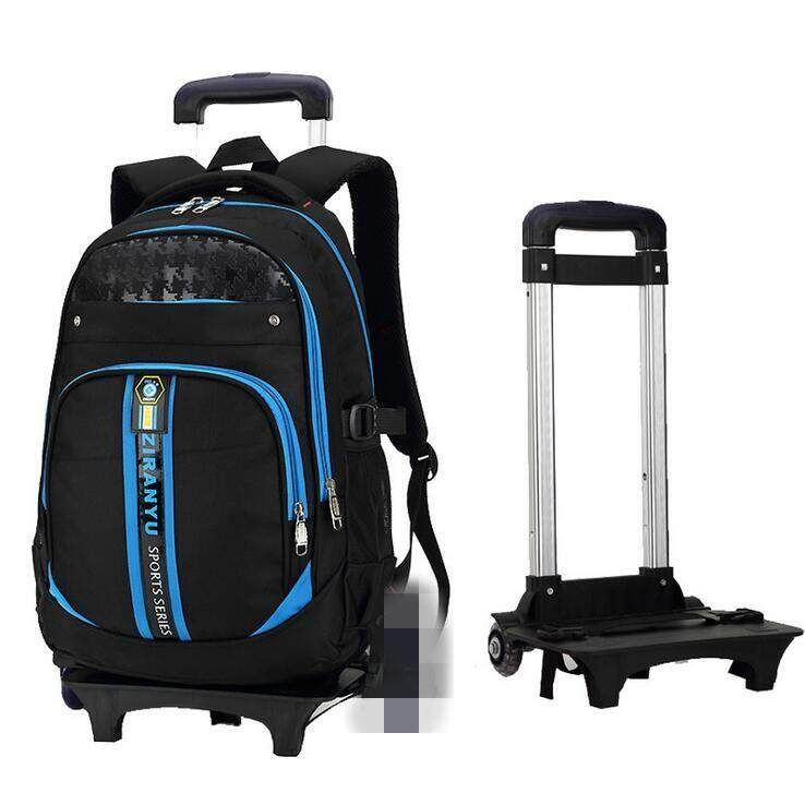b9045bcaf617 Boys Girls Trolley Backpack School Student Bag Travel Pack with 2 Rolling  Wheels  blue