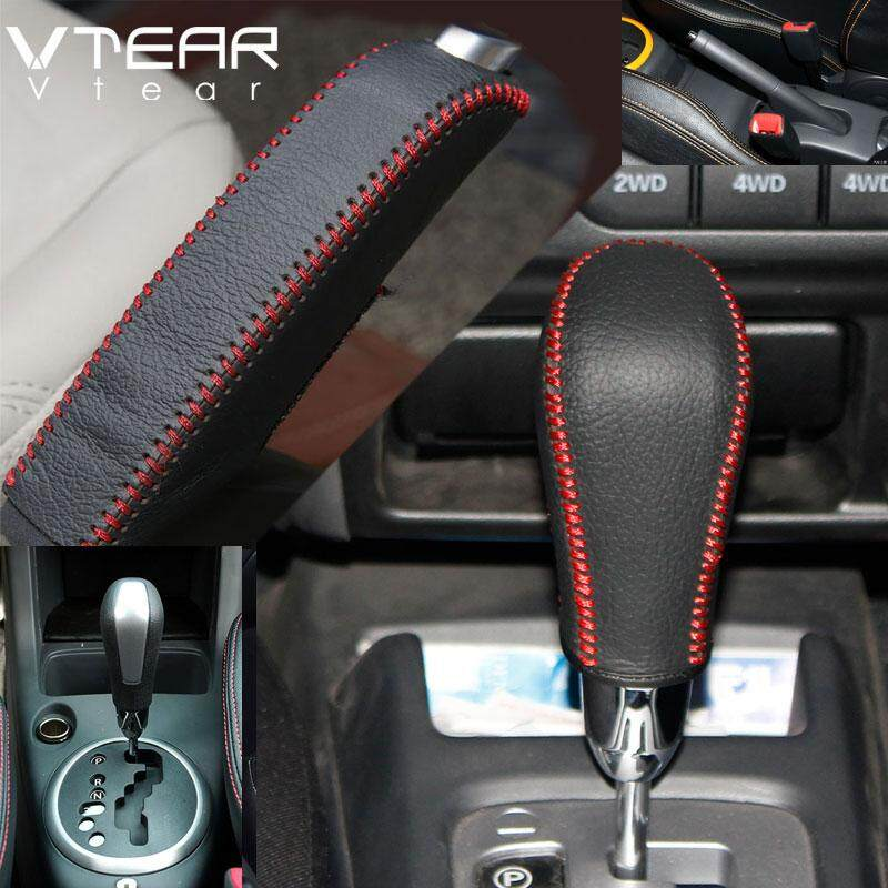 2Pcs/set For SUZUKI Swift 2005-2016 Hand-stitched leather Handbrake leather  case Shift sleeve Automatic gear case Gear stick decoration (red line)