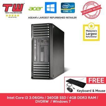 Acer S680G Core i3 3.06 GHz / 4GB DDR3 RAM / 240GB SSD / Windows 7 Home Desktop PC / 3 Months Warranty (Factory Refurbished)