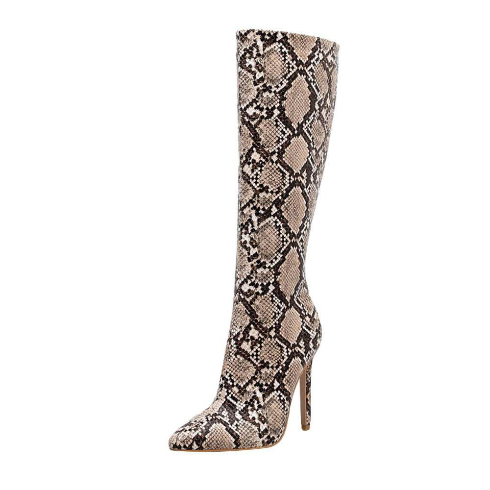 Vivimall Women Snake Winter Boots Knee High Boots Stiletto Sexy Nightclub Stage Boots By Hongshouguostore.