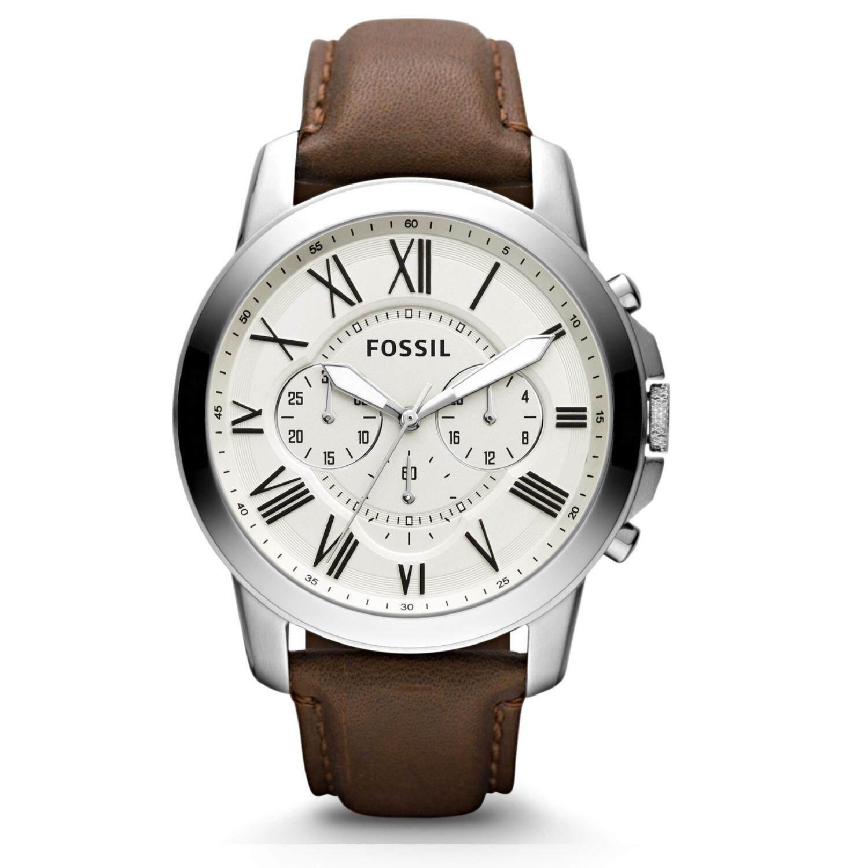 Fossil Jam Tangan Wanita Fs4839 Grant Chronograph Dial Brown Leather Original Es3950 Tailor Dark Mens Strap Watch Fs4735ie 100