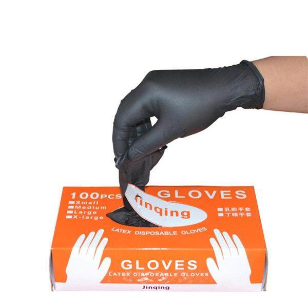 100PCS Latex Powder Free Medical Exam Tattoos Piercing Gloves Black