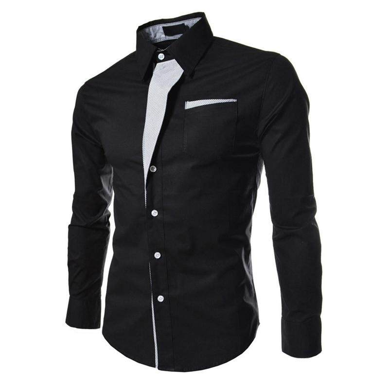 41b6e65306e1 Autumn Black Casual Male Long Sleeve Stripe Shirts Social Blouses Slim Fit  Shirts XL