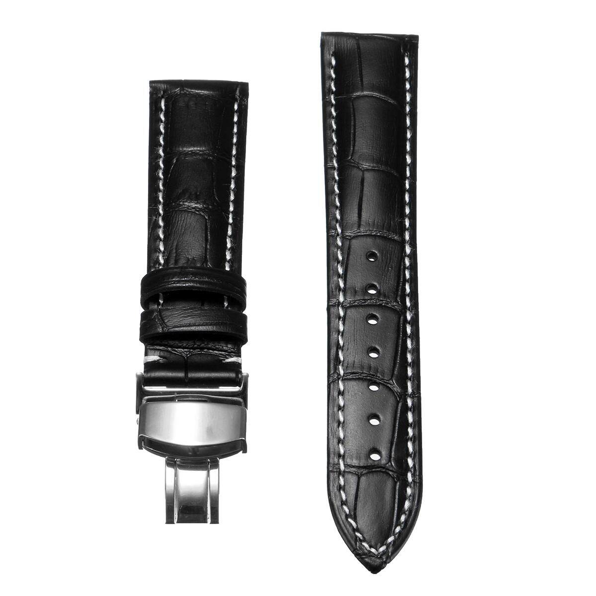 18mm Leather Watch Band Strap Stainless Deployant Style Clasp Black Malaysia