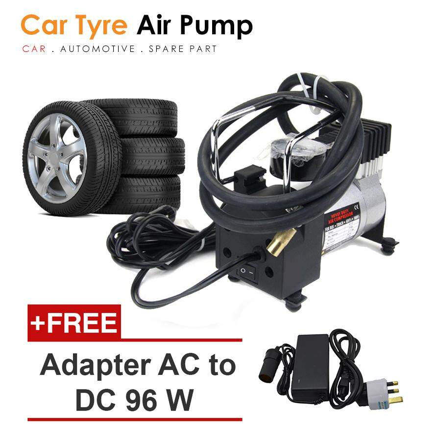 PRADO Powerful Fast Inflating Car Vehicle Tyre Inflator Air Pump Compressor + Adapter AC to DC  96 W G0147-G0352+3PIN