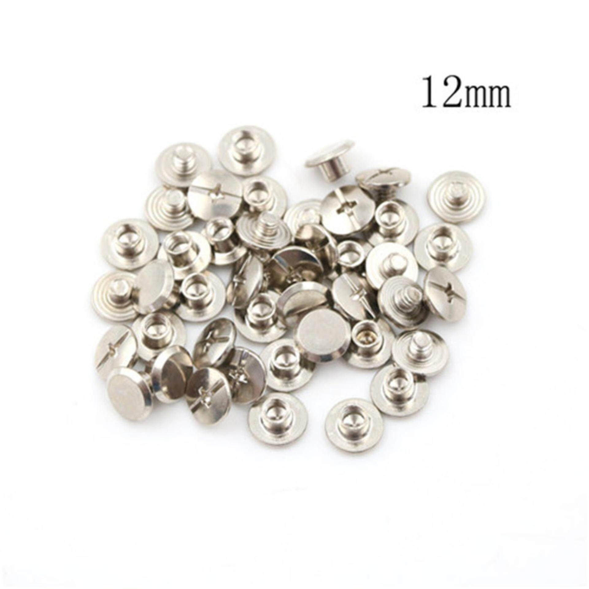 Mecola 20PCS Nickel Binding Chicago Screws Nail Rivets Album Craft 5x6mm Useful  12mm